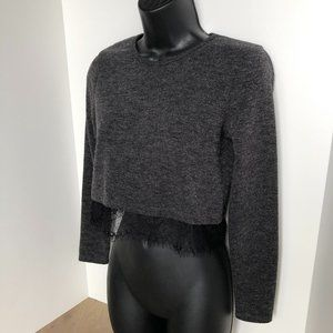 Zara W/B Collection Crop Sweater Charcoal Size M